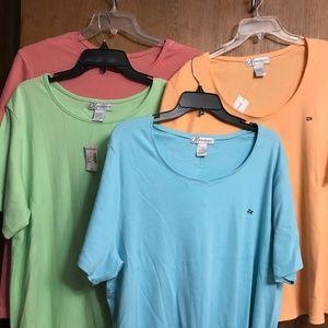 Dress Barn Tops - Four (4) short sleeve shirts NWT Size: 2X